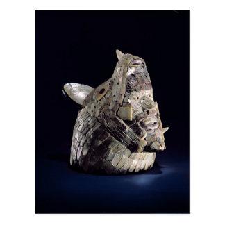 Kopf eines Tieres mit menschlichem Kopf in den Postkarte
