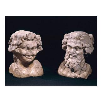 Kopf von Bacchus und Satyr von einer hermatic Postkarte