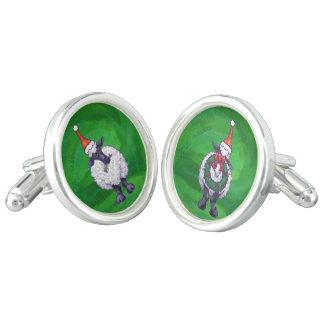 Köpfe und Schwanz-festliche Schafe auf Grün Manschetten Knöpfe