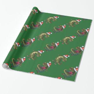 Köpfe und Schwänze festliches TRex grünes Muster Geschenkpapier