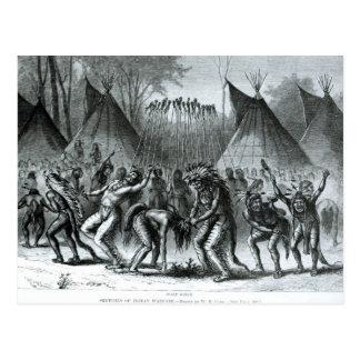 Kopfhaut-Tanz 'von den Skizzen des Inders Warfare Postkarte