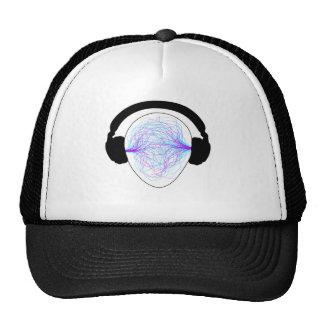 Kopfhörer blaues purpurrotes schwarzes tschirt netzcap