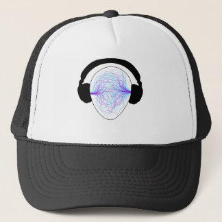 Kopfhörer blaues purpurrotes schwarzes tschirt truckerkappe