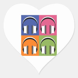 Kopfhörer in den hellen Farben Herz-Aufkleber