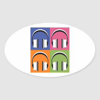 Kopfhörer in den hellen Farben Ovaler Aufkleber