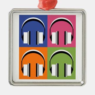 Kopfhörer in den hellen Farben Quadratisches Silberfarbenes Ornament