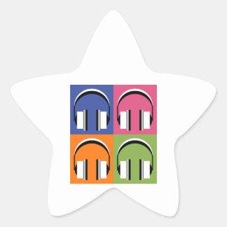 Kopfhörer in den hellen Farben Stern-Aufkleber