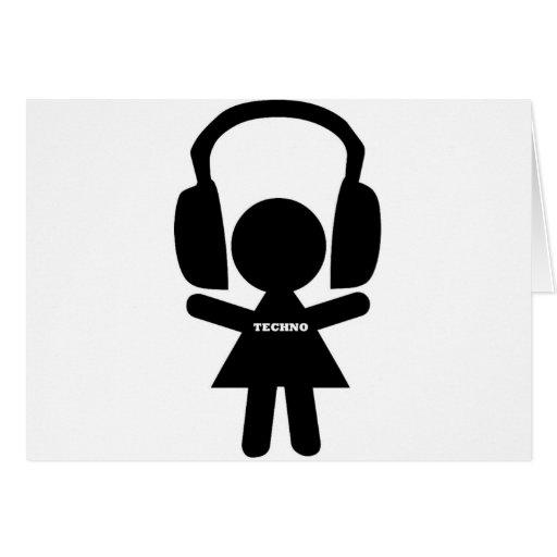 Kopfhörer Techno Musik Grußkarte