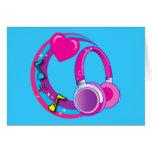 Kopfhörer und Herzen Karten