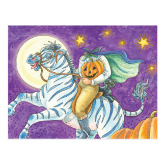 Kopfloser Reiter auf Zebra Postkarte