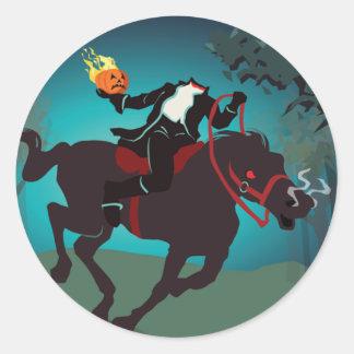 Kopfloser Reiter Halloweens Runder Aufkleber