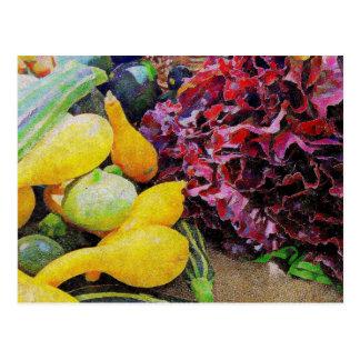Kopfsalat und Kürbis Postkarte