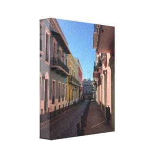 Kopfstein-Straßen historisches altes San Juan Leinwanddruck