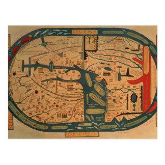 Kopie eines Beatus mappamundi des 8. Jahrhunderts Postkarte