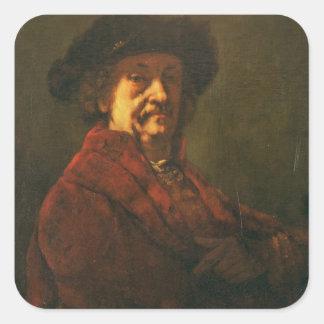 Kopie eines Rembrandt-Selbstporträts, 1869 Quadrataufkleber