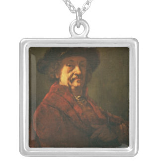 Kopie eines Rembrandt-Selbstporträts, 1869 Halskette Mit Quadratischem Anhänger