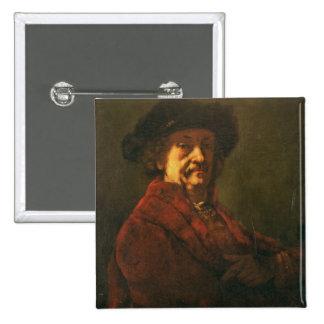 Kopie eines Rembrandt-Selbstporträts, 1869 Quadratischer Button 5,1 Cm