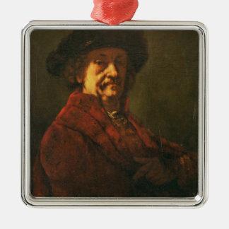 Kopie eines Rembrandt-Selbstporträts, 1869 Quadratisches Silberfarbenes Ornament