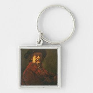 Kopie eines Rembrandt-Selbstporträts, 1869 Silberfarbener Quadratischer Schlüsselanhänger