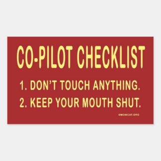 Kopilot-Checkliste: Aufkleber