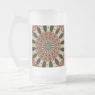 Koralle mit Kaffee-und Creme-Mandala Mattglas Bierglas