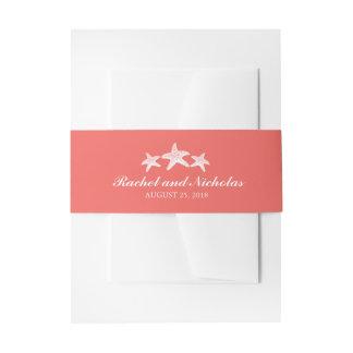 Koralle und drei weiße Starfish Wedding | Einladungsbanderole
