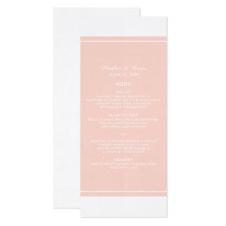 Korallen-einfach elegantes Hochzeits-Menü 10,2 X 23,5 Cm Einladungskarte