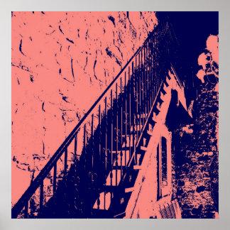 Korallen-/Marine-Blau-Treppen-Plakat Poster