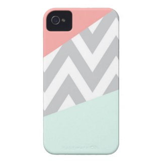 Korallen-u. Minzen-Farbblock Zickzack iPhone 4 Etuis