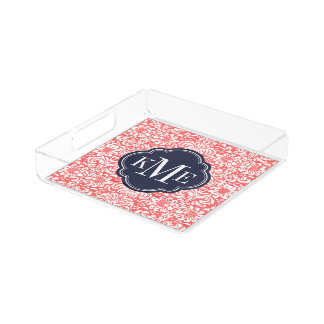 Korallen-und Marine-Blumendamast-Monogramm Acryl Tablett