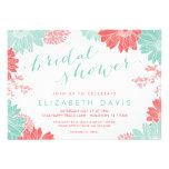 Korallen-und Minzen-modernes BlumenBrautparty Personalisierte Einladungen