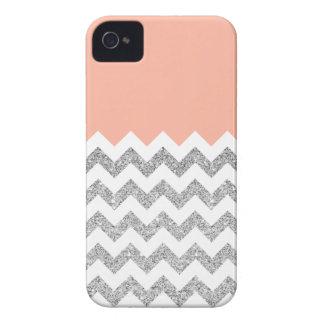 Korallen-und Silber-Imitat-Glitzer Zickzack iPhone 4 Cover