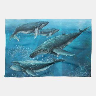 Korallenriff-Wal-Geschirrtuch Geschirrtuch