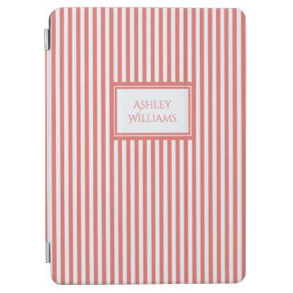 Korallenrot u. Weiß Stripes individueller Name iPad Air Hülle