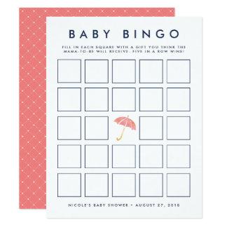 Korallenrote Babyparty-Bingo-Spiel-Karte des Karte