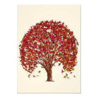 Korallenrote Baum-Hochzeits-Einladung Burgunders Karte