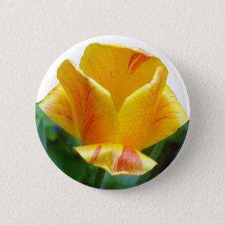 Korallenrote gelbe Tulpe Runder Button 5,1 Cm