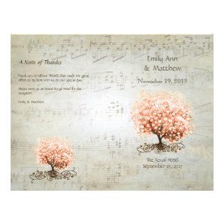 Korallenrote Herz-Blatt-Baum-Hochzeits-Programme Individuelle Flyer