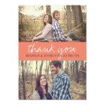 Korallenrote KursivFoto-Hochzeit danken Ihnen 12,7 X 17,8 Cm Einladungskarte