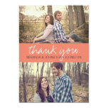 Korallenrote KursivFoto-Hochzeit danken Ihnen Kart Ankündigungskarten