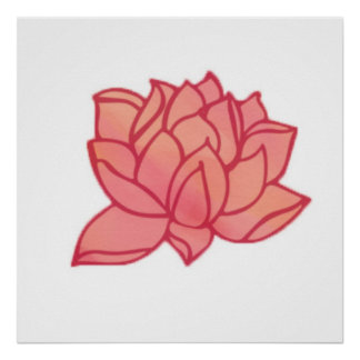 Korallenrote Lotus-Wand-Kunst Poster