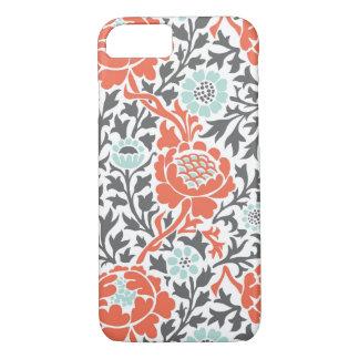 Korallenrote Minze und grauer Retro Blumendamast iPhone 8/7 Hülle