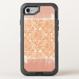 Korallenrote Punkte-Lacy Herzengrunge-Muster OtterBox Defender iPhone 8/7 Hülle