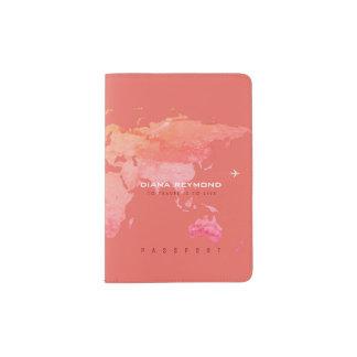 korallenrote Reise der Weltkarte Farb Passhülle