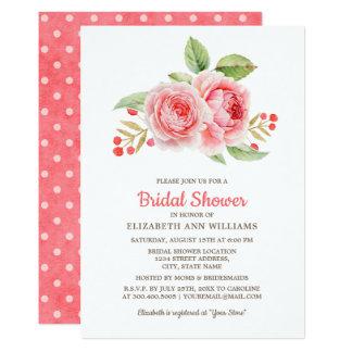 Korallenrote rosa BlumenBrautparty-Einladungen Karte