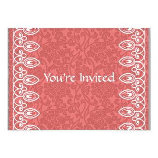 Korallenrote rosa Brokat-Brautparty-Einladung 12,7 X 17,8 Cm Einladungskarte