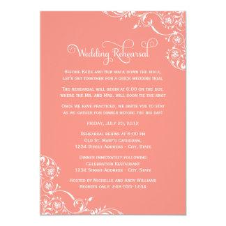 Korallenrote rosa Rolle der Hochzeits-Proben-| 12,7 X 17,8 Cm Einladungskarte