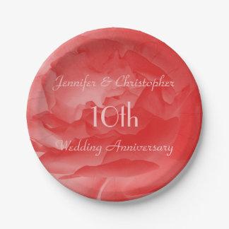 Korallenrote rosa Rose, 10. Hochzeits-Jahrestag Pappteller