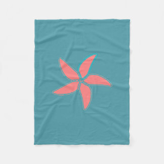 Korallenrote rosa Starfish-cyan-blaue Fleece-Decke Fleecedecke