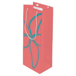 Korallenrote rosa Starfish-Wein-Geschenk-Tasche Geschenktüte Für Weinflaschen